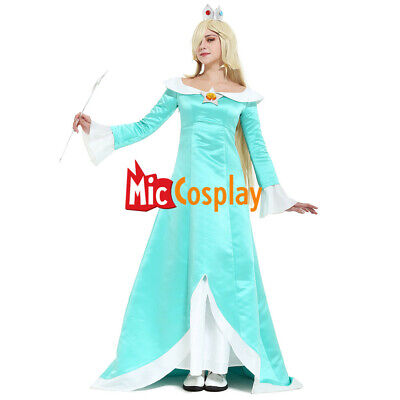 Galaxy Rosalina Cosplay Costume Crown Earrings Woman Dress Halloween Outfit](Rosalina Halloween Costume)