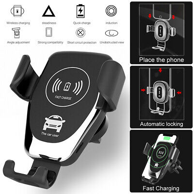 Car Wireless Fast Charger Mount Holder For iPhone XS X 8 Plus Samsung Galaxy S10