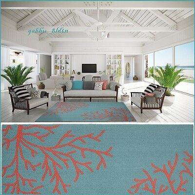 Tropical Coral Teal Area Rug Carpet Coastal Beach Ocean Sea Modern Decor ()