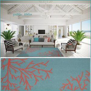Tropical Coral Teal Area Rug Carpet Coastal Beach Ocean Sea Modern Decor