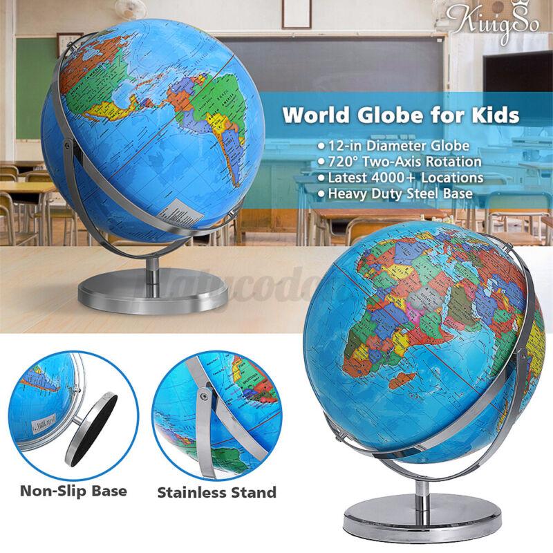 12Inch World Globe Spinning Rotating Desktop Globe w/Sturdy Steel Stand Kid Toy