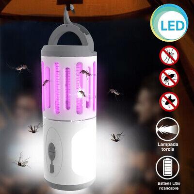 Zanzariera Elettrica Lampada Torcia LED Campeggio Anti Zanzar Batteria Litio USB