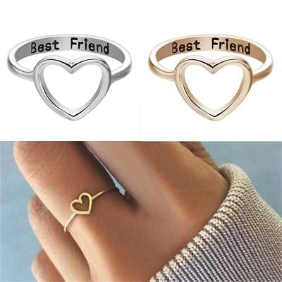 Women's Love Heart Best Friend Ring Promise Jewelry Friendship Rings