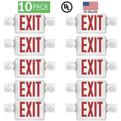 Sunco 10 Pack EMERGENCY EXIT SIGN Single/Double Face LED w/ 2 Head Lights UL