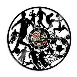 Football Vinyl Record Wall Clock Soccer Wall Clock Sports Soccer Lover Gift
