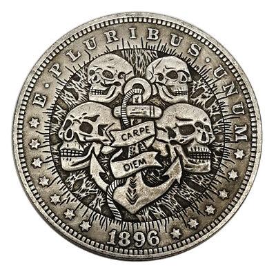 0US Four Skull HOBO Nickel Silver Novelty Morgan  Dollar COIN