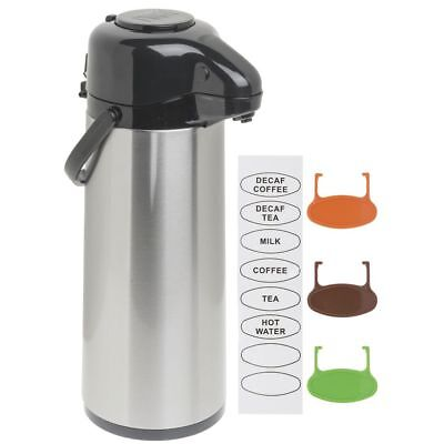 Hubert Airpot Coffee Dispenser With Pump Lid 2 12 L Stainless Steel Glass-lined