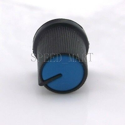 Black Knob Blue Face Rotary Switch Potentiometer Volume Pointer Hole 6mm