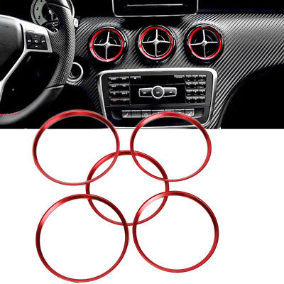 Red Car Air Vent Outlet AC Ring Trims For 2013-18 Mercedes Benz CLA GLA Class