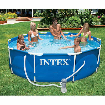"Intex Metal Frame Round Swimming Pool 10ft x30"" + Filter Pump Above Ground 28202"
