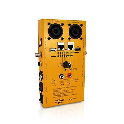 NEW Pyle 12 in 1 Cable Plug Tester: USB/1/4''/XLR/RCA/Speakon/Banana/Din/RJ45