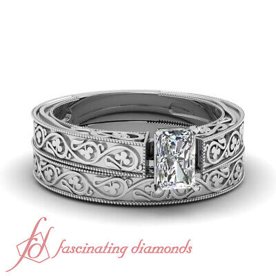 1/2 Ct Radiant Cut Diamond Engraved Floral Design Solitaire Bridal Rings Set GIA