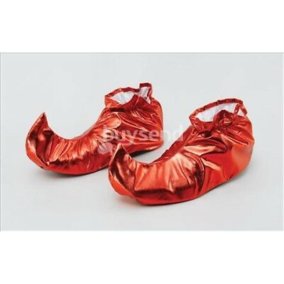 Red Metallic Adults Jester Shoe Covers - Fancy Dress Shoes Christmas Elf Pixie - Elf Shoe Covers