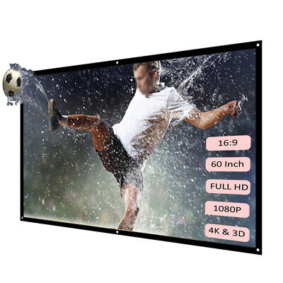 """H60 60"""" Portable Projector Screen HD 16:9 Video Projection Screen Foldable K9Z2"""