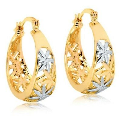 (18k Gold Filled Two Tone Floral Etched Hoop Earrings)
