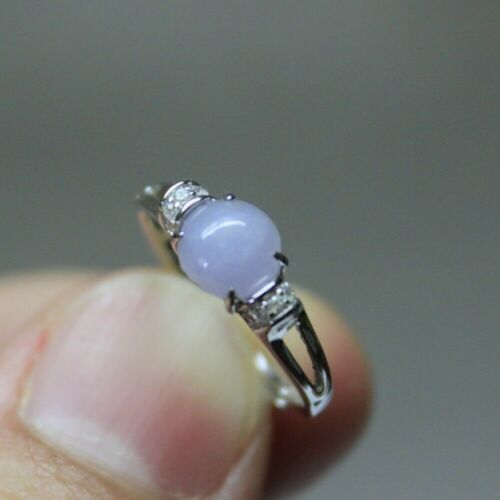 "Size 5 **  CERTIFIED Natural ""A"" Untreated Lavender Jadeite JADE S925 RING"