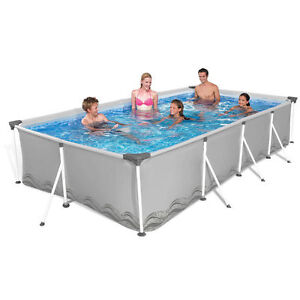 Piscine structure rectangulaire en acier 394x207xh80cm au for Structure piscine