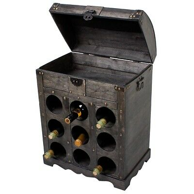 Braun Kolonialstil (Weinregal Kolonialstil 9 Flaschen Flaschenregal Flaschenständer Weinschrank Sekt)