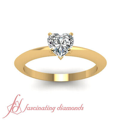 1/2 Ct Heart Shaped FLAWLESS Diamond Solitaire Knife Edge Engagement Ring GIA 1