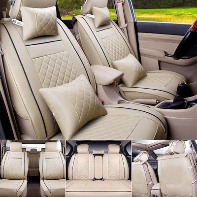 PU Leather Car Seat Cover Front & Rear Cushion Full Set W/Pillows Size M 5 Seats for sale  USA