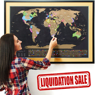 *NEW* Scratch Off World Map with US States & Country Flags [LIQUIDATION SALE]