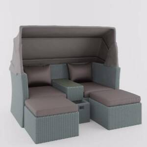 Marquis PE Wicker Modular Outdoor Sofa Set W/ Canopy   Grey Part 58