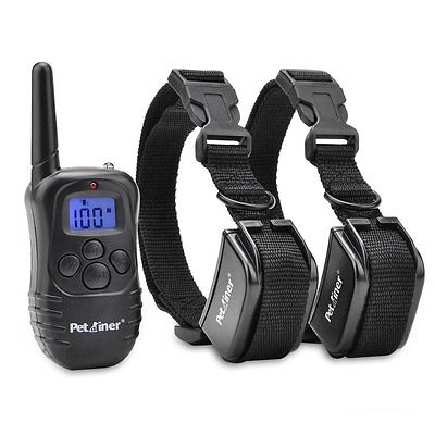 Petrainer Dog Training Collar Rechargeable Electric 100LV Shock Collar for 2 Dog