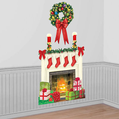 Holiday Hearth Scene Setter Merry Christmas Wall Decoration FireplaceStocking