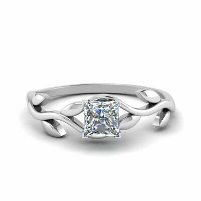 Half Carat Princess Cut Diamond Leaf And Branch Design Single Solitaire Ring