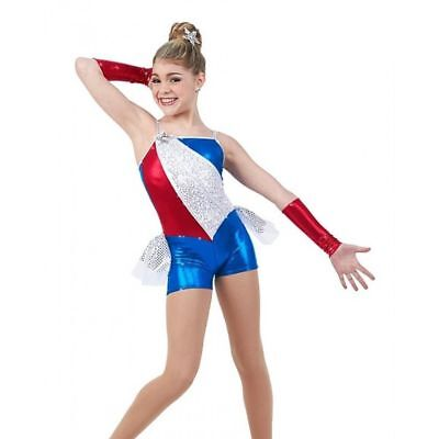 Star Spangled Dance Costume Boy Shorts Unitard Acro 4th Of July Adult XX-Large