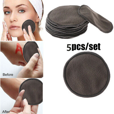5Pcs Reusable Portable Bamboo Makeup Removal Pads Facial Washable Pad Cleansing Health & Beauty