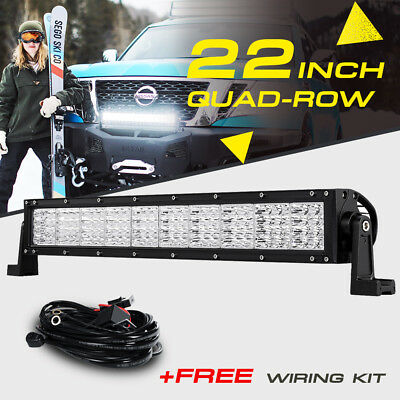 Hikari trading minihid 22 1440w quad row cree led light bar flood spot offroad pickup for nissan mozeypictures Images