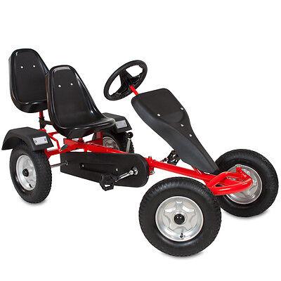 2-SITZ Go-Kart Rennkart Gocart Kinder Tretauto Cart Gokart Kinderfahrzeug rot