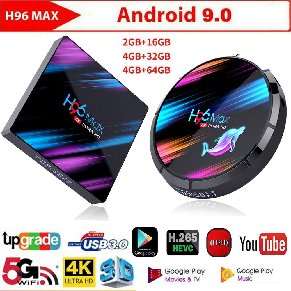 H96 Max Android 9.0 Smart TV Box Quad Core 4K HD 5.8GHZ WiFi