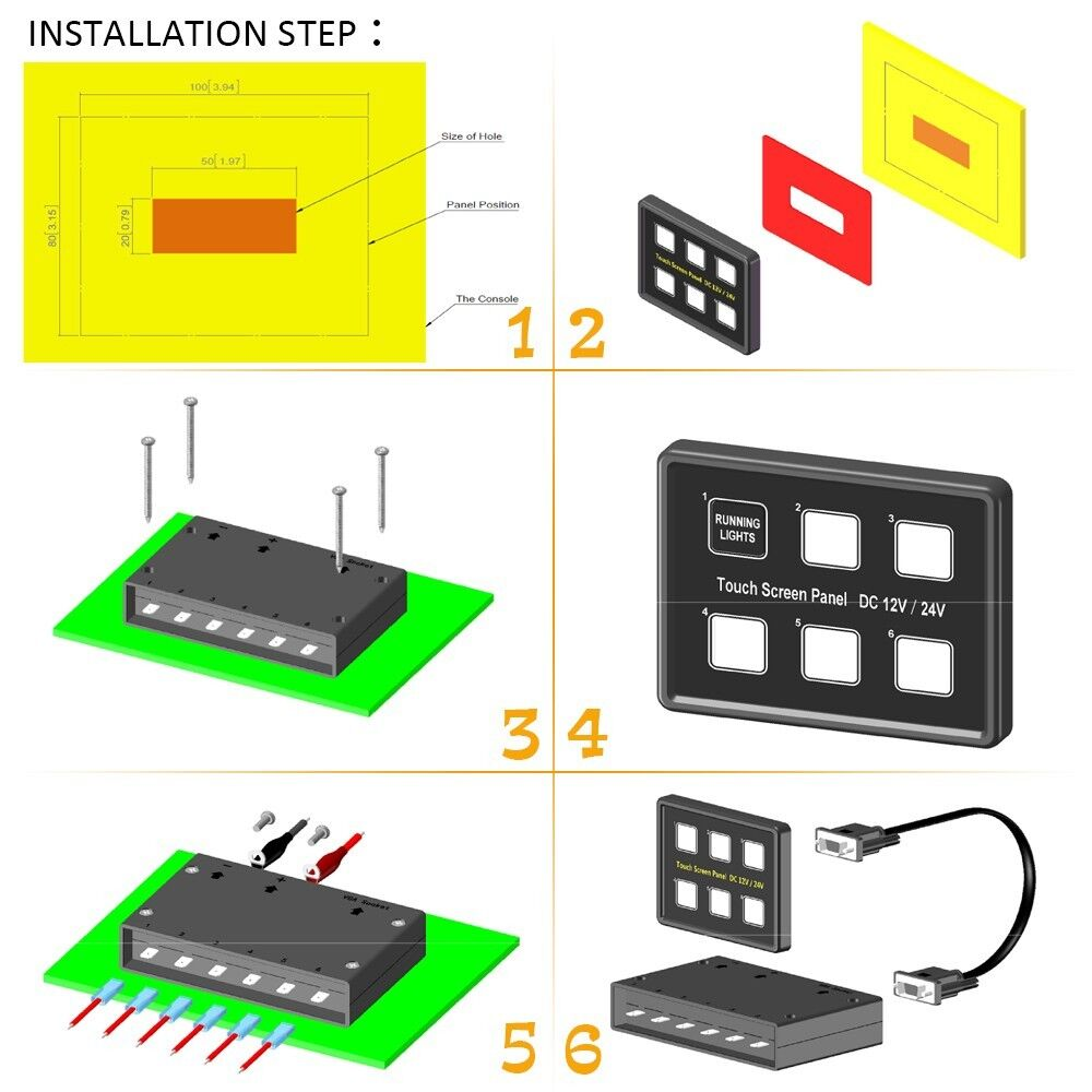 Car 6 Gang Switch Wiring Diagram 32 Images 3 Box For 57set Id880000500f 12v 24v Led Panel Slim Touch Control