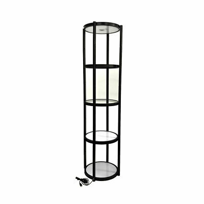 Usa-black 81 Round Portable Aluminum Spiral Tower Display Case With Shelves