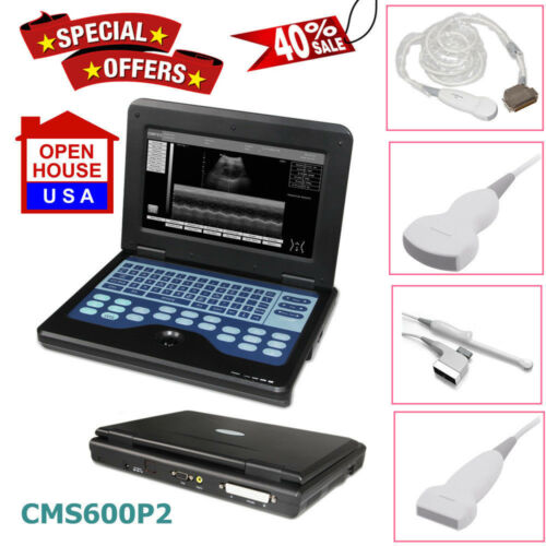 Portable Ultrasound Scanner Laptop Machine+3 Probes Diagnostic System For Human