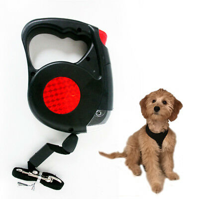 New 14.5 FT Retractable Pet Dog Leash With LED Flash Light Harness Collar Small