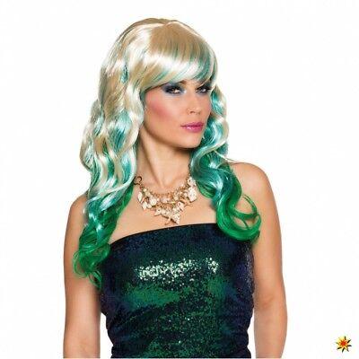 Meerjungfrau Kostüm Zubehör (Perücke Meerjungfrau blond/grün Langhaar Ombre Look Kostüm Nixe Zubehör Fasching)