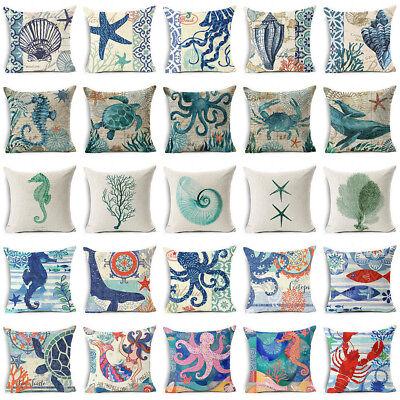 Ocean Style Sea Animals Cotton Linen Throw Pillow Case Cushion Cover Home Decor ()