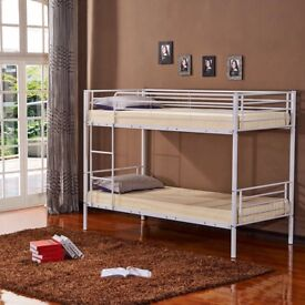 💖🔥SUPER STRONG & STURDY❤New Single Metal Bunk Bed with 2 x 9 inch Deep Quilt Semi Ortho Mattresses