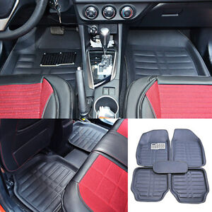 US 5× Universal Car Floor Mats Front & Rear FloorLiner Carpets All-Weather Black