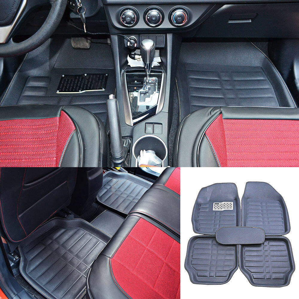 US 5× Universal Car Floor Mats Front & Rear FloorLiner Carpets All-Weather Black