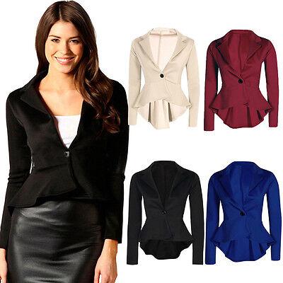New Women's Ladies Crop Frill Shift Slim Fit Peplum Formal Blazer Jacket Coat