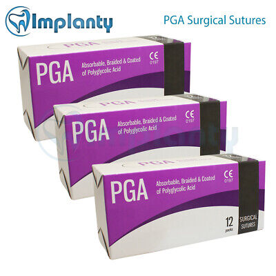 Braided Absorbable Pga Surgical Suture Dental Medical Wound 12pcsbox Sutures