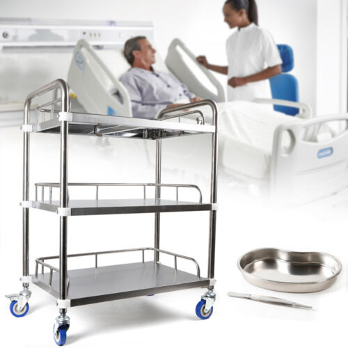 3 Layer Medical Trolley Cart Mobile Instrument Laboratory Medical Vehicle