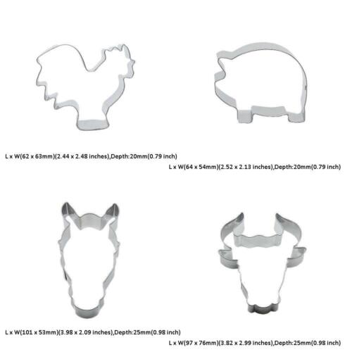 4 Metal Cookie Cutter Set Bull Head Horse Pig Piggy Chicken