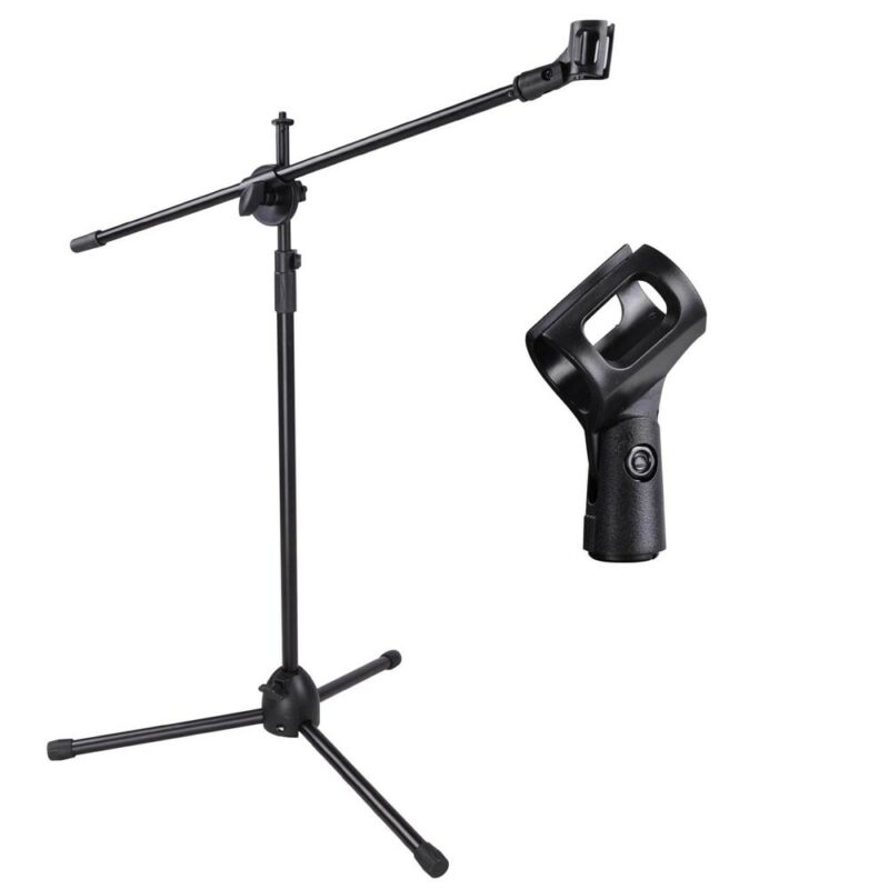 New Microphone Boom Stand Mic Clip Holder Studio Arm Adjustable Foldable Tripod