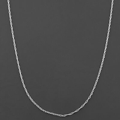 10K WHITE  GOLD .9mm MACHINE MADE LITE ROPE LINK PENDANT -