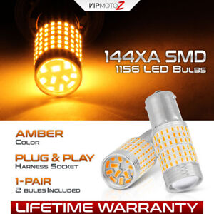 [144X SMD] ULTRA BRIGHT 1156 BA15S Amber Yellow Turn Signal LED Light Bulbs Pair
